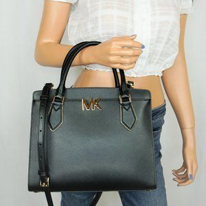 Michael Kors Mott L Satchel Shoulder Bag Black